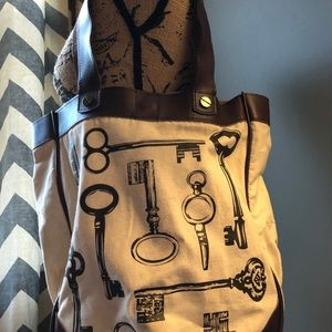Fossil Bags - Fossil Leather and Canvas Key 🔑 Tote Bag